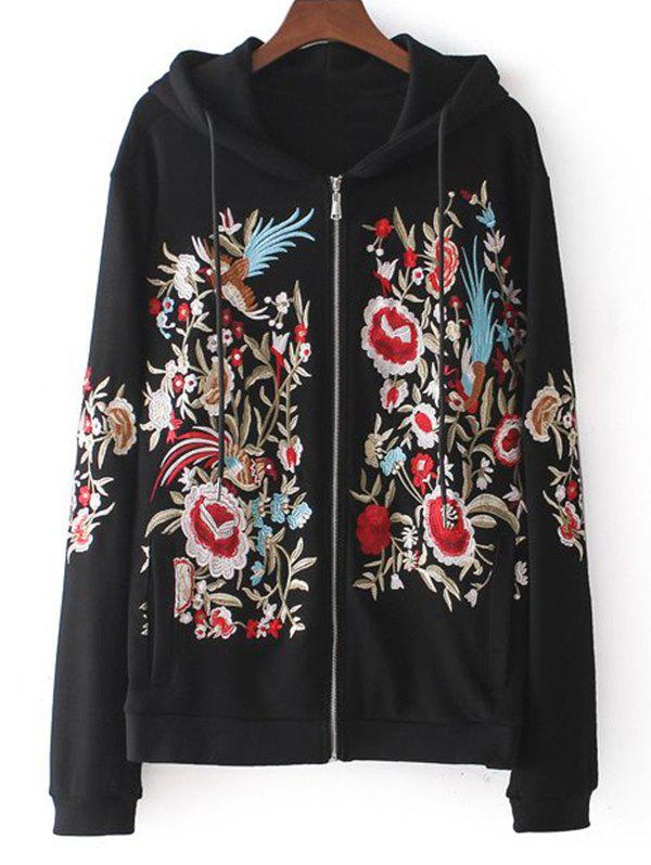 Affordable Floral Embroidered Drawstring Zip Up Hoodie