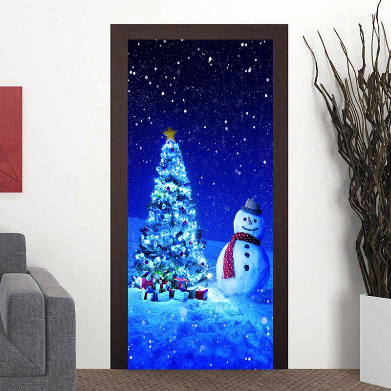 Affordable Christmas Tree Snowman Pattern Door Cover Stickers
