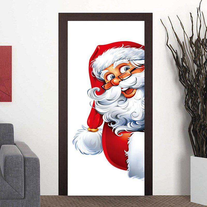 Store Fat Santa Claus Patterned Door Cover Stickers