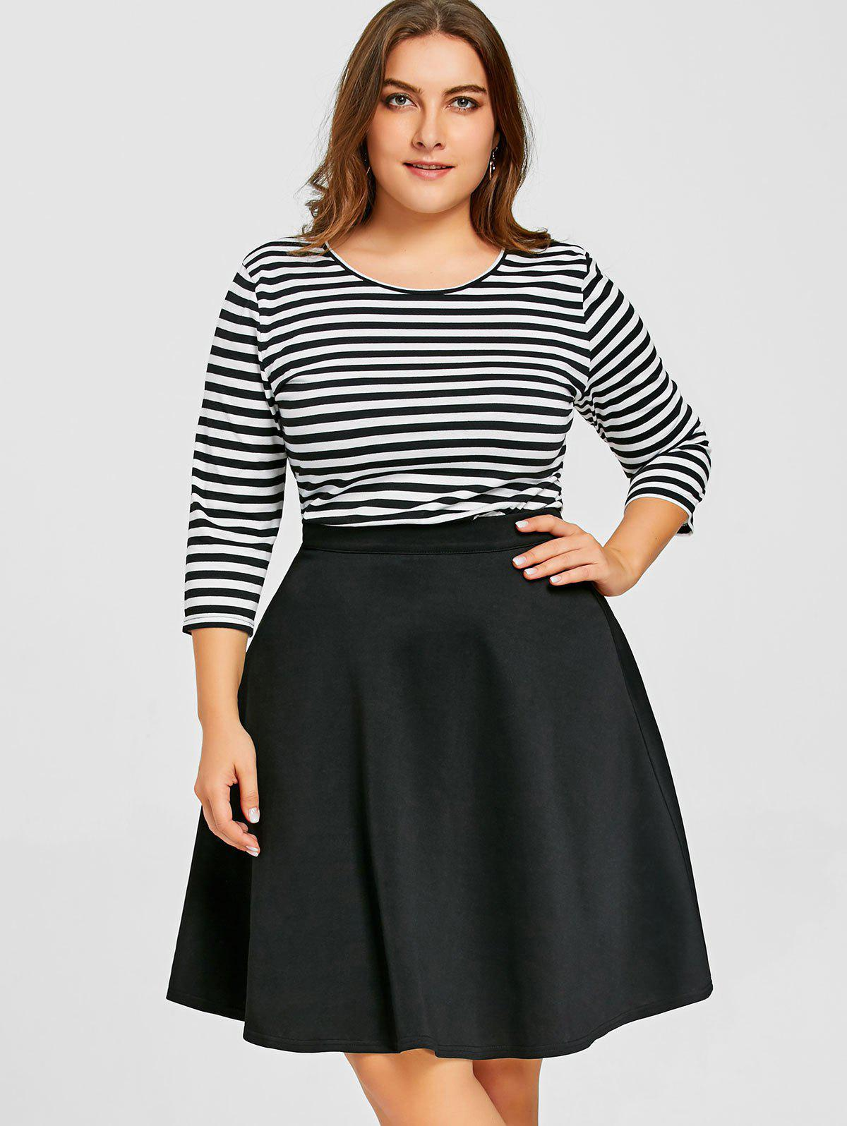 Best Striped Top with Plus Size Skirt