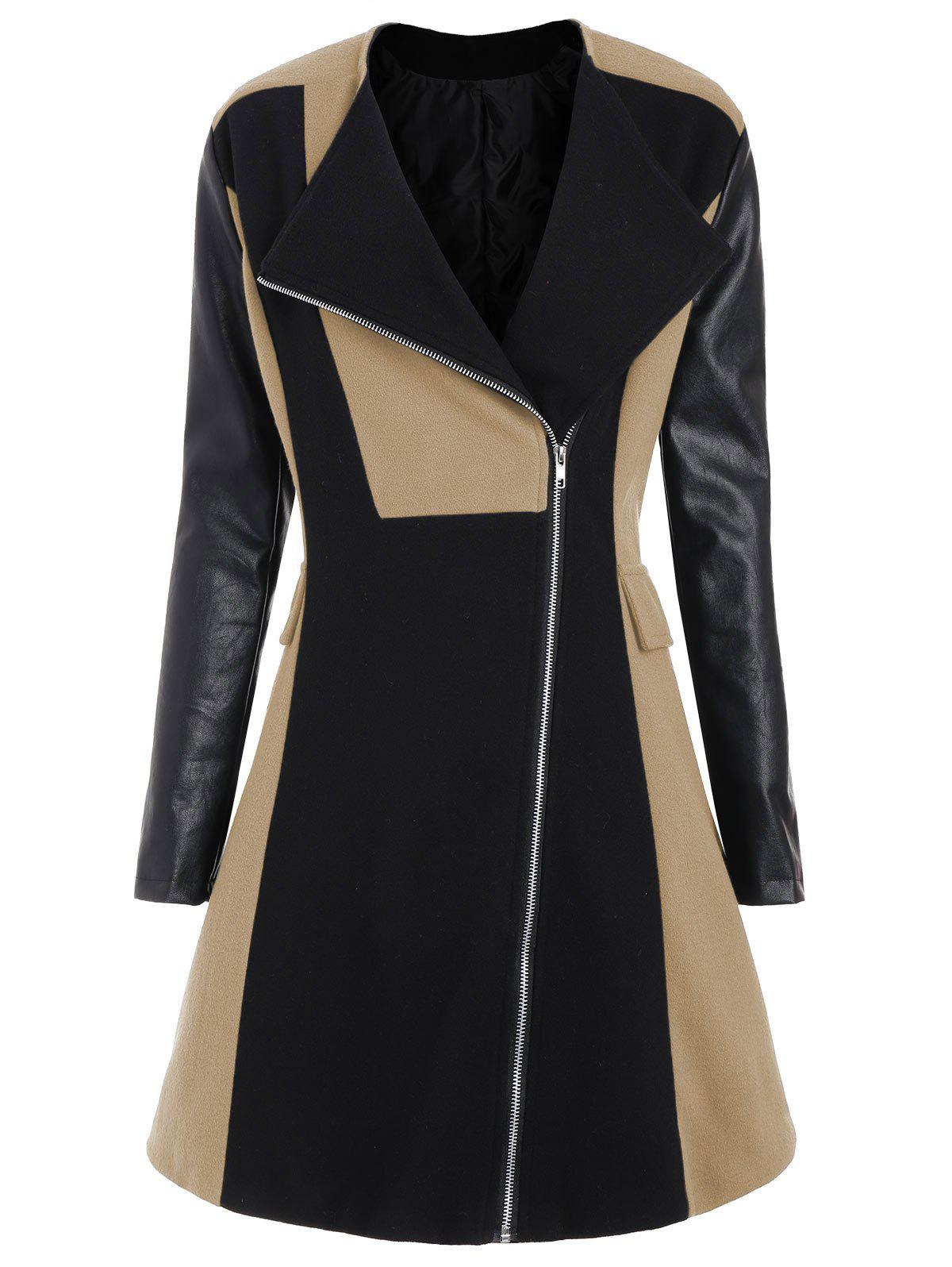 Affordable Two Tone Plus Size Faux Leather Sleeve Coat