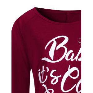 Plus Size Baby Its Cold Outside Letter Christmas T-shirt -