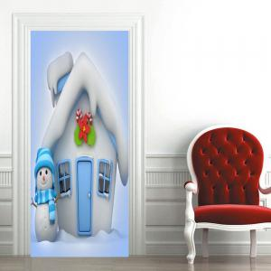 Christmas Cottage and Snowman Pattern Door Art Stickers -