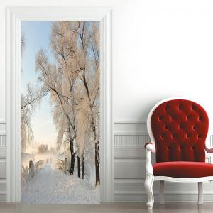 Snowscape Pattern Decorative Door Cover Stickers -
