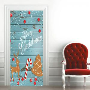 Christmas Tree Wood Grain Deer Candy Cane Pattern Door Stickers -