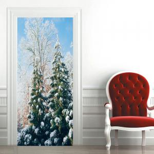 Snow Tree Pattern Decorative Door Stickers -
