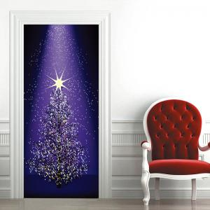 Star Christmas Tree Pattern Door Stickers -