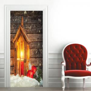 Christmas Candle Lamp Pattern Wood Grain Door Stickers -
