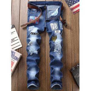 Zip Fly Flag Printed Distressed Jeans -