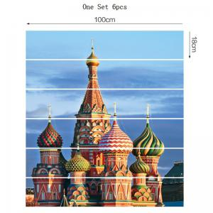 6Pcs Russian Castle Palace Pattern Home Stair Stickers -