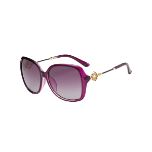 Vintage Floral Shape Rhinestone Inlay Embellished Oversized Sunglasses -