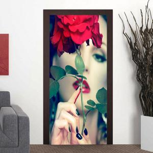 Alluring Lady and Flower Pattern Door Art Stickers -