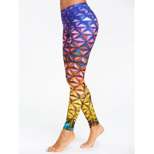 Geometric 3D Print Ombre Yoga Leggings -