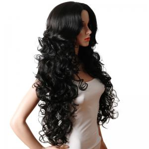Long Center Parting Fluffy Curly Synthetic Wig -
