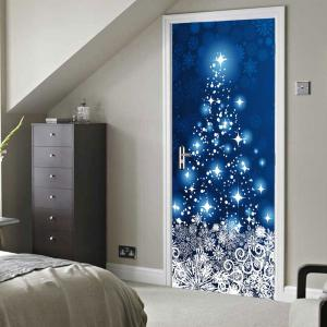 Christmas Snowflakes Star Pattern Door Cover Stickers -