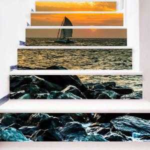 Sailboat on the Sea Printed Decorative Stair Stickers -
