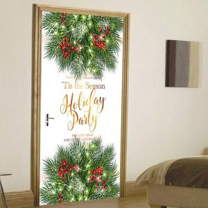 Christmas Tree Letters Pattern Door Cover Stickers -