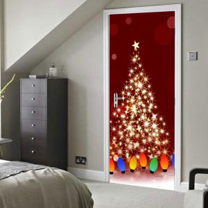 Christmas Starlight String Light Pattern Door Cover Stickers -
