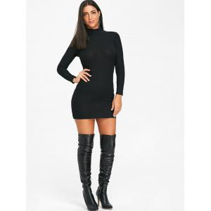 High Neck Mini Knit Bodycon Dress -