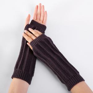Stripe Pattern Hollow Out Fingerless Knitted Arm Warmers -