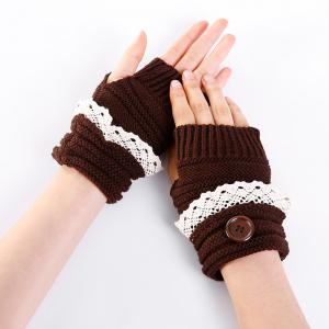 Soft Button Embellished Lace Edge Knitted Fingerless Gloves -