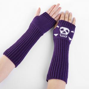 Soft Skull Pattern Embellished Fingerless Knitted Arm Warmers -