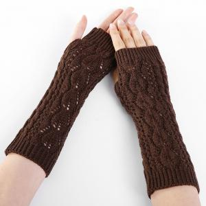 Tree Branch Decorated Hollow Out Exposed Finger Knitted Gloves -