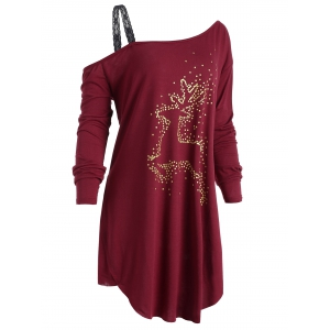 Christmas Reindeer Plus Size Long Sleeve Tunic T-Shirt -