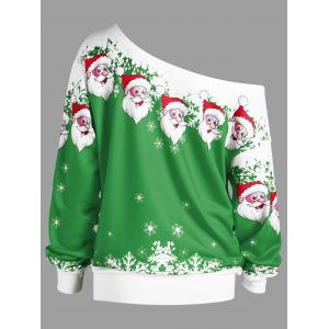 Christmas Plus Size Skew Collar Santa Claus Sweatshirt -