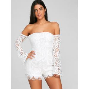 Off The Shoulder Flare Sleeve Lace Romper -