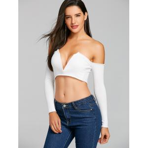 V Cut Long Sleeve Strapless Crop Top -