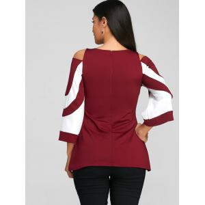 Two Tone Cold Shoulder Blouse -