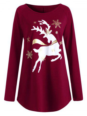Latest Christmas Deer Plus Size Graphic T-shirt
