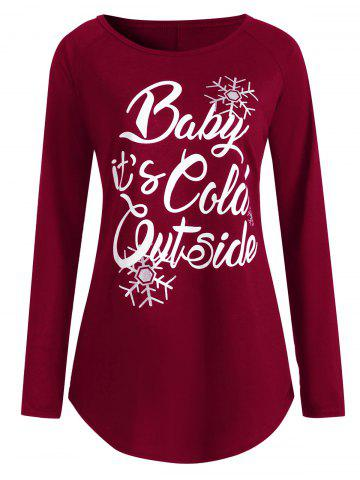 Latest Plus Size Baby Its Cold Outside Letter Christmas T-shirt