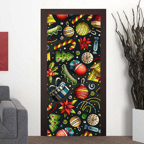 Chic Christmas Elements Pattern Home Decor Door Cover Stickers