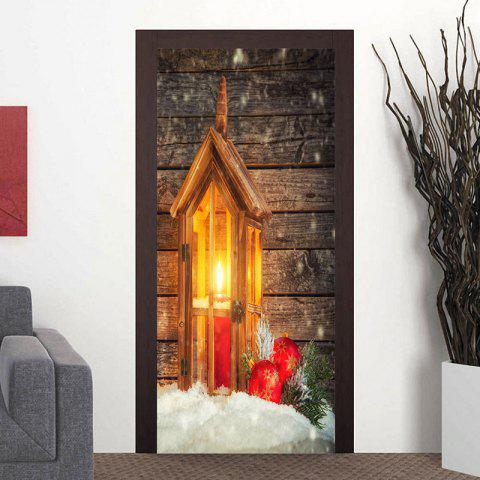 Fashion Christmas Candle Lamp Pattern Wood Grain Door Stickers