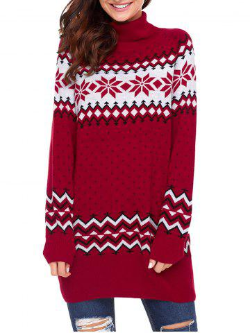Trendy Christmas Snowflake Patterned Turtleneck Tunic Sweater