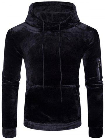 Sweat-Shirt à Capuche en Velours avec Poche Kangourou  - BLACK - XL