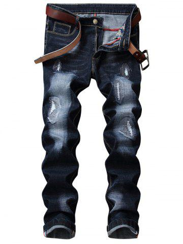 Hot Zip Fly Straight Leg Distressed Jeans