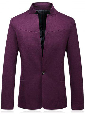 Fashion Stand Collar Slim Fit One Button Blazer