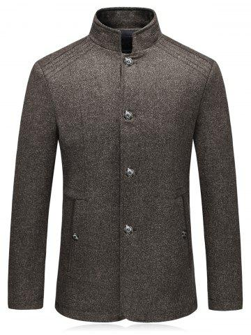 Chic Single Breasted Padded Woolen Blazer