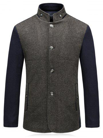 Hot Color Block Padded Single Breasted Woolen Blazer