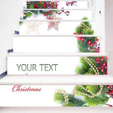 Hot 6Pcs Christmas Tree Star Ornament Home Stair Stickers