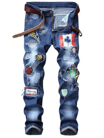 Fashion Flag Graphic Print Distressed Jeans
