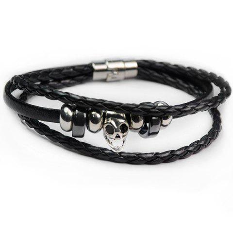 Outfits Faux Leather Skull Braid Rope Bracelet