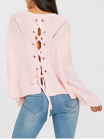 Back Lace Up Hollow Out Sweater