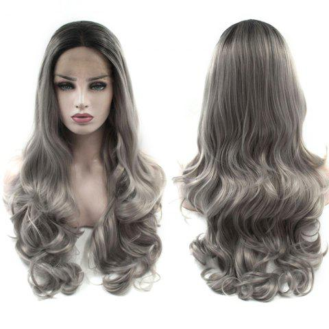 Outfit Long Center Parting Layered Wavy Ombre Lace Front Synthetic Wig