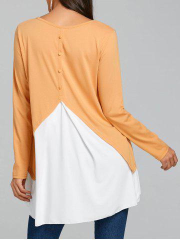Button Panel Embellished High Low Tunic T-shirt
