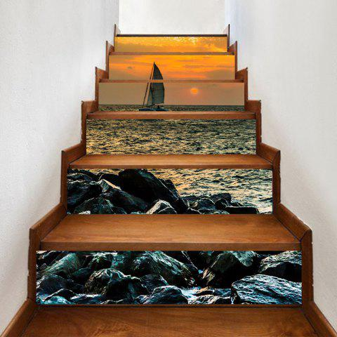 Shops Sailboat on the Sea Printed Decorative Stair Stickers