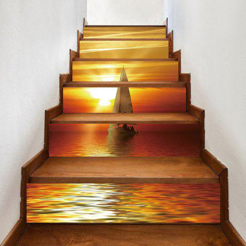 Online Sailing Boat Sunset Printed Decorative Stair Stickers